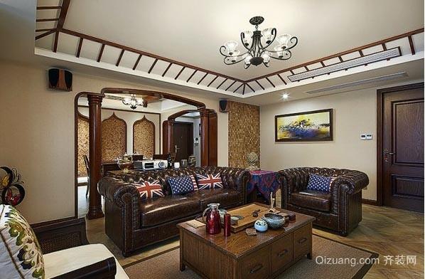 融入英伦风的东南亚风格120㎡三室一厅装修效果图片欣赏