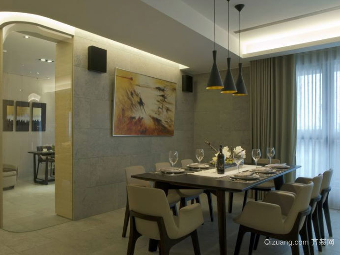 赞不绝口:现代简约风格客餐厅一体装修效果图