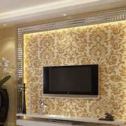 金黄色调硅藻泥背景墙