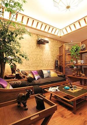 80平米具有东南亚韵味的两室一厅家庭装修效果图