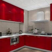 红色调橱柜设计