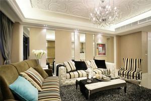 120平米色调轻柔内敛奢华得欧式两居室装修效果图