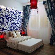 中式别墅卧室青花瓷花纹背景墙装饰