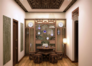 中式风格原木别墅吊顶装饰