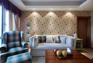 100平米优雅小田园风格三室一厅样板房装修效果图