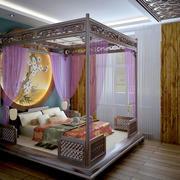 中式简约风格别墅卧室床头背景墙装饰