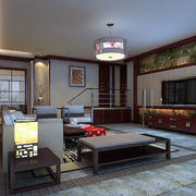 冷色调中式客厅