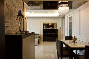 120平米多功能性美式三室一厅装修效果图