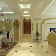 清淡色调客厅地板砖装修