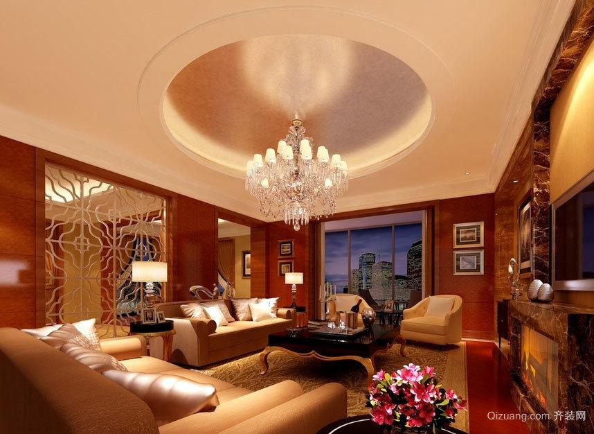 甜甜美美的家庭:大户型客厅吊顶装修效果图大全