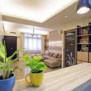 120平米简约风格客厅置物架装饰