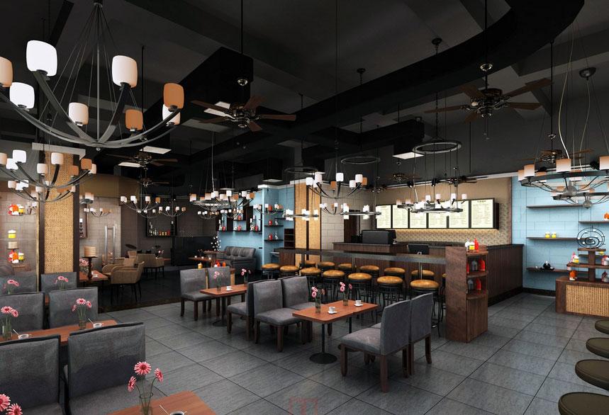 体验不一样的感觉 轻松 舒适咖啡 厅设计效果图