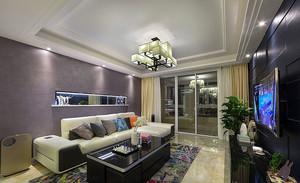 别墅简约风格浅紫色客厅背景墙装饰