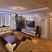 怡情紫色调客厅吊顶