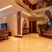 温馨色客厅地板砖装修