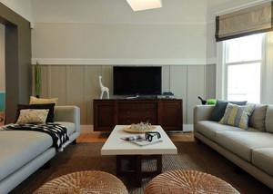 色调柔和的电视背景墙装修效果图片