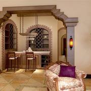 美式别墅客厅拱形门装饰