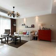 三室两厅后现代风格简约客厅灯饰装饰