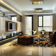 100平米房屋简欧风格客厅电视背景墙