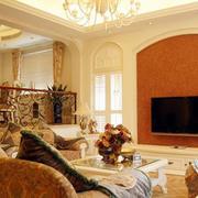 欧式简约风格硅藻泥电视背景墙
