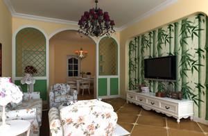典雅中透着高贵:欧式田园风格客厅石膏线装修效果图实例欣赏