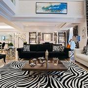 北欧风格客厅斑马纹地毯装饰