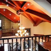 跃层简约风格原木吊顶装饰
