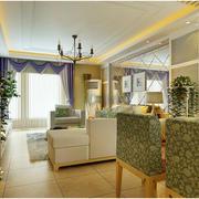 韩式田园风格清新客厅样板房效果图