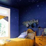 简约风格儿童房深蓝色背景墙装饰