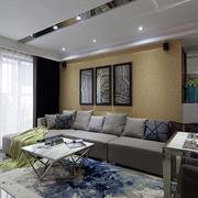后现代风格别墅简约客厅吊顶装饰