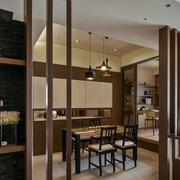 现代简约风格三室一厅餐厅原木隔断装饰
