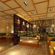 料理店中式简约风格吊顶装饰