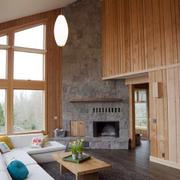 loft原木风格复式楼客厅效果图