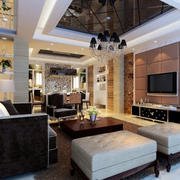 100平米欧式房屋客厅效果图