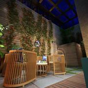 三室一厅简约风格原木浅色阳台桌椅装饰