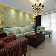 别墅简约风格客厅浅黄色背景墙