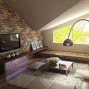 美式斜顶阁楼电视背景墙