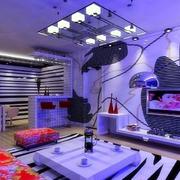 蓝紫色系室内客厅效果图