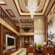 中式原木系复式楼客厅装饰