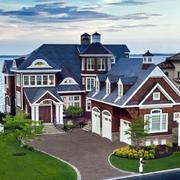 美式简约风格海景房外观图设计
