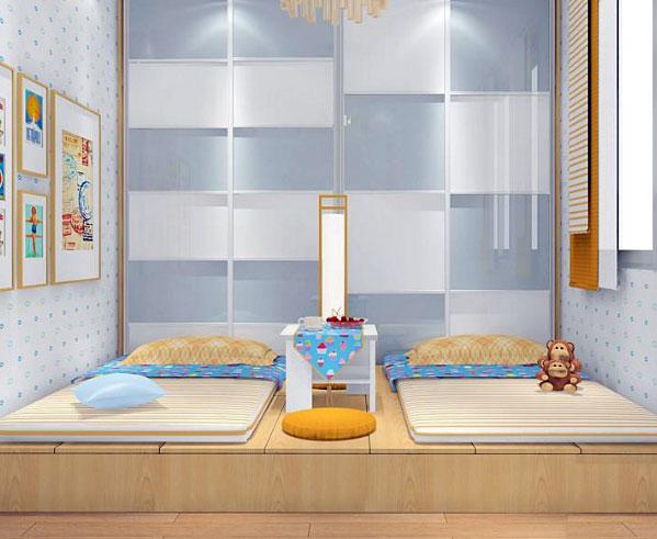 可爱俏皮 双床儿童房 装修 效果图高清图片