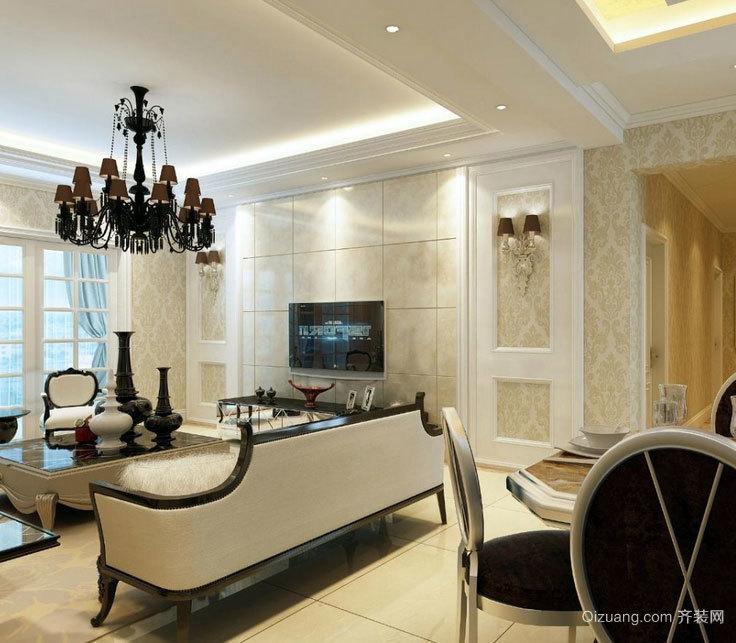 具备大爱感觉:大户型时尚欧式客厅电视背景墙效果图鉴赏