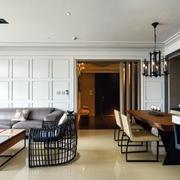 后现代风格新房沙发石膏板背景墙装饰