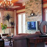 美式客厅样板房灯饰设计