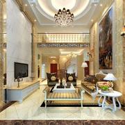 欧式简约风格复式楼客厅电视背景墙