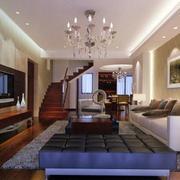 跃层简约风格沙发背景墙装饰