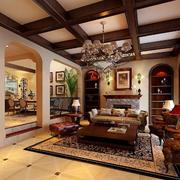 美式原木深色客厅吊顶效果图