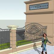 欧式简约风格大型别墅围墙装饰