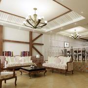 地中海风格客厅石膏板吊顶装饰