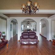 欧式简约风格跃层客厅皮制沙发